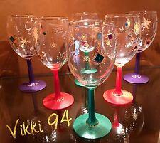 "WINE GLASSES Hand Painted VIKKI 94 ""BLING"" Set of 6 VINTAGE"