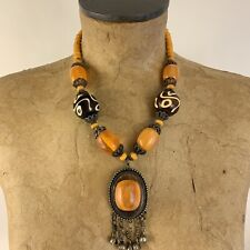 Style Statement Necklace Orange And Brown African