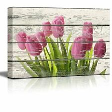 Bouquet of Beautiful Pink Tulips Artwork - Rustic Canvas Wall Art - 16x24 inches