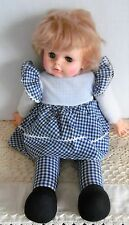 "1974 Eegee 18"" Pull String Talking Doll Cloth Body Gingham Plaid Outfit"