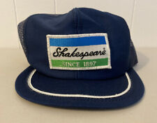 Vintage Shakespeare Fishing Rods Snapback Mesh Trucker Patch Cap Hat Navy Blue