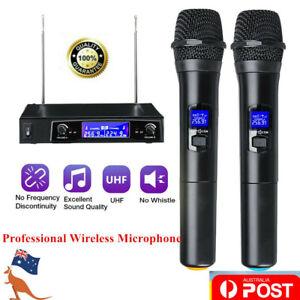 Professional Dual Handheld Microphone Wireless UHF Mic System Karaoke KTV AU