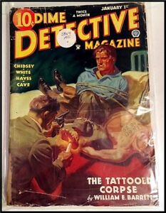 Pulp Magazine: DIME DETECTIVE January 1st, 1935. Barrett, Chidsey, Cave stories.