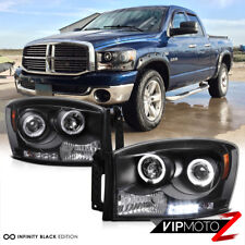 06-08 Dodge Ram 1500 2500 3500 Black Dual Halo Projector LED Headlights/Lamps