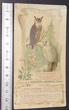 CHROMO CPA CHOCOLAT AIGUEBELLE 1900-1914 OISEAUX HARFANG NEIGES GRAND DUC