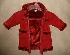 BABY GAP Girls Baby Long Rust Color Winter Coat/ Matching Mittens Size 12/18 Mon