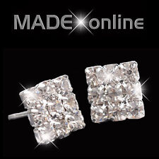 Men's Small Square Diamante Stud Bling Earrings