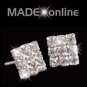 Men's Small Square Diamante Stud Bling Earrings