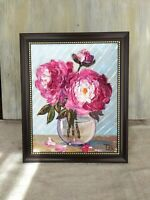Pink Peonies Framed Original Textured oil painting Floral still life #04-214