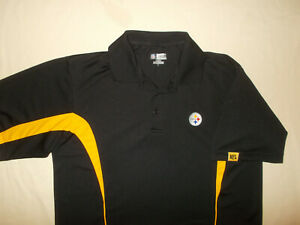 NFL PITTSBURGH STEELERS SHORT SLEEVE BLACK POLO SHIRT MENS LARGE EXCELLENT COND.