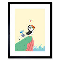 Puffins Travel Voyage Art Print Framed Poster Wall Decor