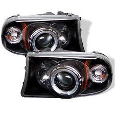 Dodge 97-04 Dakota Durango Black Dual Halo LED Projector Headlights Pair Set