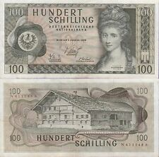 Austria 100 Shilling Banknote 2.1.1969 Extra Fine Condition  Cat#145-A-1148