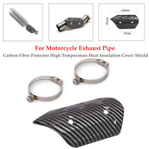 Motorcycle Carbon Fiber Exhaust Pipe Cover Protector Heat Resistant Shield Kit