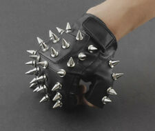 Men Punk Biker Driving Motorcycle Hedgehog Spike Leather Fingerless Gloves