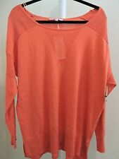 Two by Vince Camuto Cotton Blend Coral Glow Crew-neck Top Size - XL