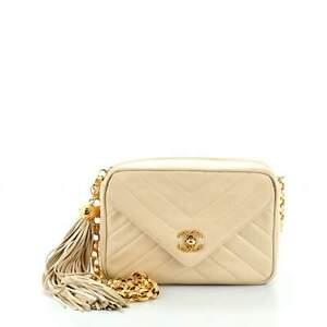 Chanel Vintage Front Pocket Camera Bag Chevron Lambskin Small
