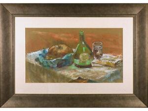 Still Life 'Bread & Wine' by Nancy Dickinson, Signed Pastel Drawing Original Art