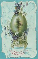 Vintage Postcard Easter Egg with Scene on Pedestal Cherub Germany 1909 Embossed