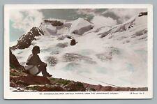 Girl Surveying Athabasca Glacier RPPC Banff Jasper Antique Hand-Colored Photo