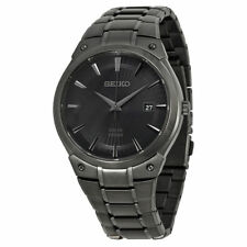 Seiko SNE325 Men's Solar Black Sunray Dial Black Ion-plated Stainless Date Watch