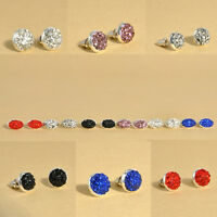 Fashion Women Girls Round Crystal Rhinestones Diamond Earrings Ear Stud Jewelry
