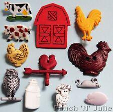 Barn Buddies-Animales De Granja Con Dibujo De Búho Vaca Cerdo Gallina Mouse ovejas Gallo Craft Botones