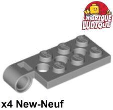 Lego - 4x Charnière hinge Plate plaque 2x4 pin hole gris/light b gray 98286 NEUF