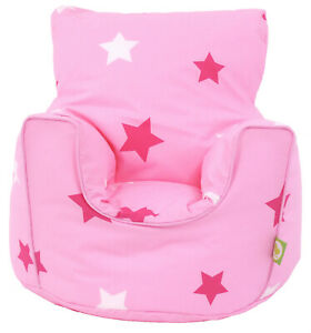 Cotton Pink Stars Bean Bag Arm Chair Seat with Beans Toddler Size From Bean Lazy