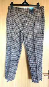 M&S Ladies Trousers 14 P Check Smart Casual Work Slim Ankle Grazer Crop New