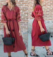 ZARA Brick Red Midi Embroidered Tassel Kaftan Long Sleeve Tunic Dress XS S M L