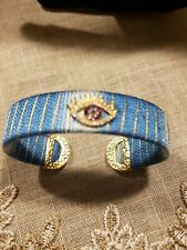 karli buxton evil eye blue and gold cuff bracelet with rhinestones new FREE SHIP