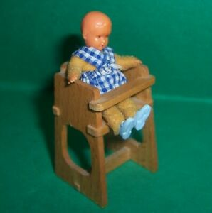 VINTAGE 1970's LUNDBY DOLLS HOUSE HIGH CHAIR & BABY