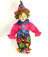 """18"""" COLORFUL CLOWN COSTUME STUFFED BABY DOLL W/METAL STAND FACE PAINTED HAT"""