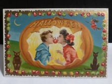 New ListingVintage Halloween postcard-Young Folks Biting the Swinging Apple-By Taggert