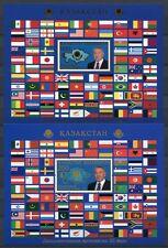 Kasachstan Kazakhstan 2013 Flaggen Flags Dipl. Beziehungen Block 45-46 Gold MNH