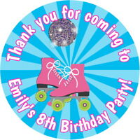 PERSONALISED GLOSSY ROLLER DISCO SKATING  BIRTHDAY PARTY SWEET CONE BAG STICKERS