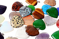 Wholesale 25pcs Big Natural Stone Heart Silver Plated Beads Pendant fit necklace