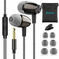 Blukar Auricolari Ear Auricolari Cuffie Stereo in Metallo con Microfono - Alt...