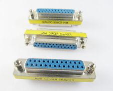 1x DB25 25 Pin Female to DB25F Female F/F Mini Gender Changer Serial COM Adapter