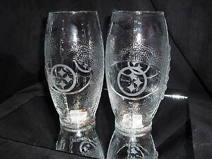 PITTSBURGH STEELERS 2 ETCHED LOGO FOOTBALL GLASSES 23 oz NEW