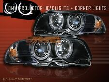 2000-03 BMW 3-SERIES 2DR E46 2 HALO PROJECTOR HEADLIGHTS+CORNER LAMPS BLK AMBER