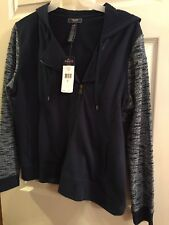 NWT~ Womens Size Large Navy Blue Chaps Moto style Hoodie Jacket Sweatshirt Hood