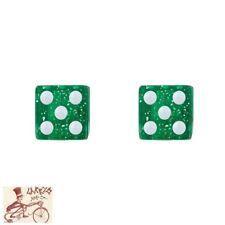 TRICK TOPS DICE  GLITTER GREEN CAR BIKE BICYCLE VALVE CAPS--1 PAIR