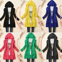 Women Ladies Sweater KniT Jumper Long Sleeve Hood Knitwear Cardigan Coat Outwear