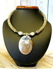 Shell Necklace Pearl Necklace Mother of Pearl Pendant Jewelry from Thailand 25cm