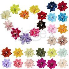 10pcs Rose Satin Ribbon Bows Flower Rhinestones Wedding Decor Appliques 28*30mm