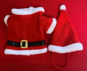 Costume for Small Dog Plush Red Santa Suit w White Fur Trim Hat w Strap Cos Play