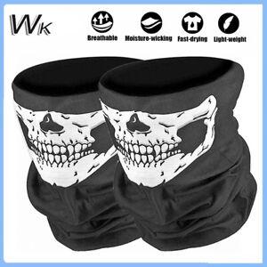 2Pcs Skeleton Ghost Skull Face Mask Sun Shield Neck Gaiter Balaclava Tube Scarf
