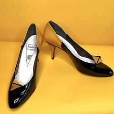 Unique French Vintage Séducta Black, Yellow Patent Leather Pumps Size 7.5